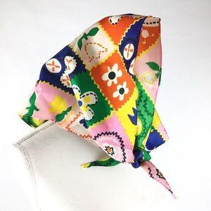 Accessories - True vintage women's 70s head scarf. Bright floral